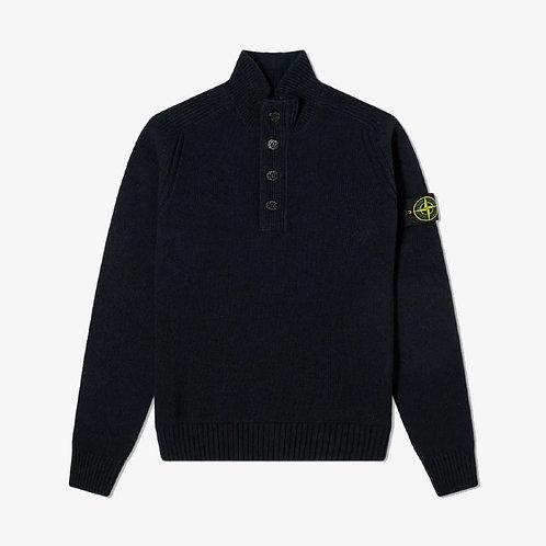 Stone Island Button Funnel Neck Knit - Black