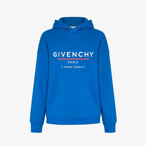 Givenchy Label Printed Hoodie - Ocean Blue