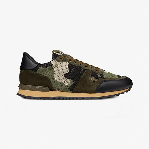 Valentino Mesh Fabric Camouflage Rockrunner Sneakers - Military Green