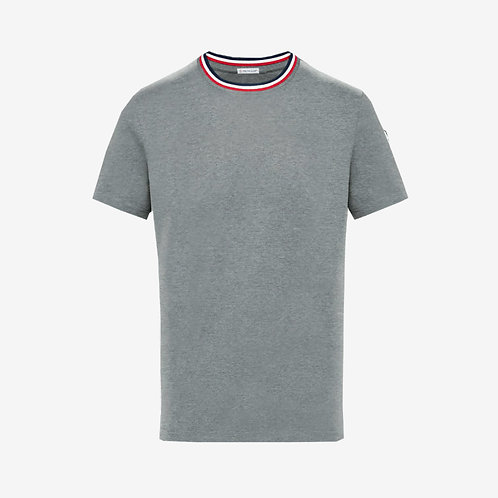 Moncler T-shirt with Contrast Collar Grey