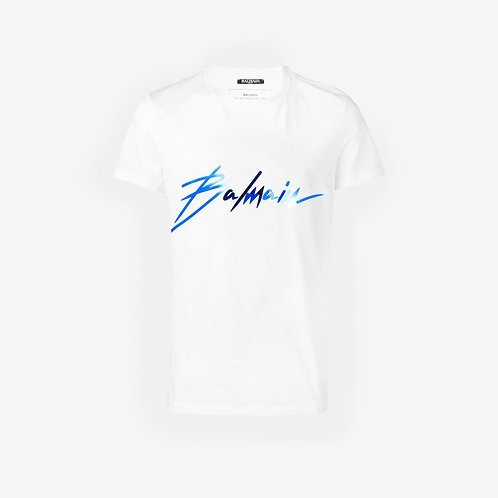 Balmain Signature Logo T-Shirt - White and Blue