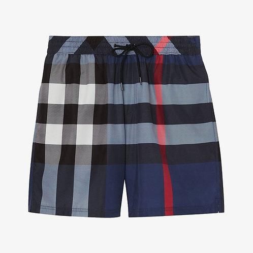 Burberry Check Drawcord Swim Shorts - Carbon Blue