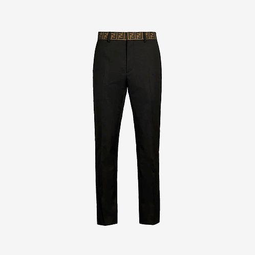 Fendi FF Logo Waistband Trim Trousers - Black