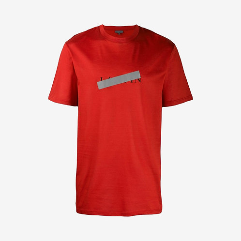 Lanvin Logo and Reflective Strip Print T-Shirt - Red