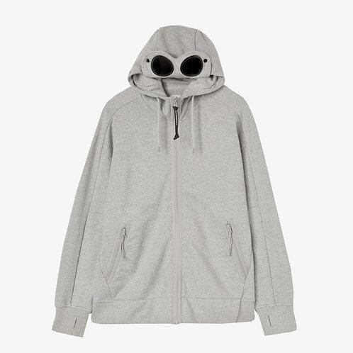 C.P. Company Diagonal Raised Fleece Goggle Hoodie - Melange Grey