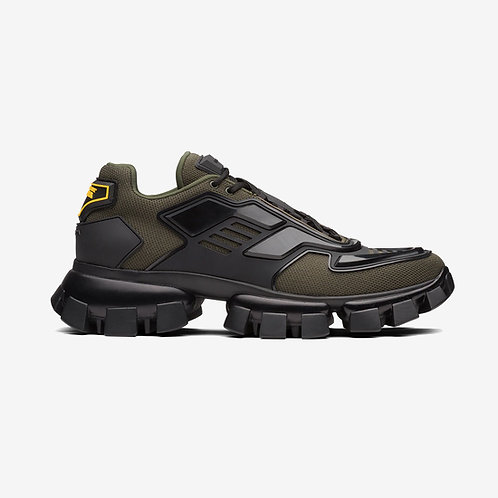 Prada Cloudbust Thunder Knit Sneakers Military Green and Black
