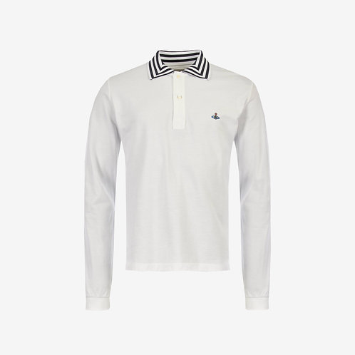 Vivienne Westwood Orb Logo Long Sleeve Polo - White
