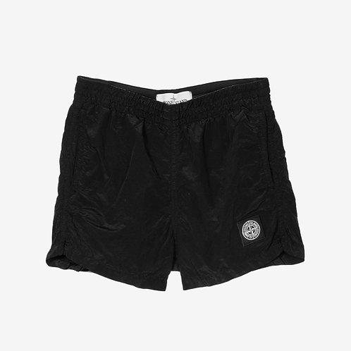 Stone Island Junior Nylon Metal Crinkle Swim Shorts Black Front