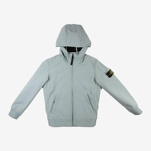 Stone Island Junior Soft Shell Hooded Jacket- Ice