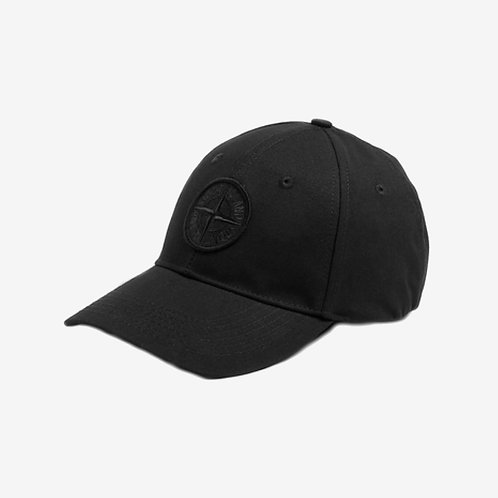 Stone Island Canvas Logo Cap Black Side