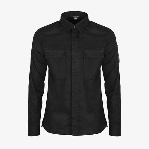 C.P. Company Gabardine Garment Dyed Lens Shirt - Black