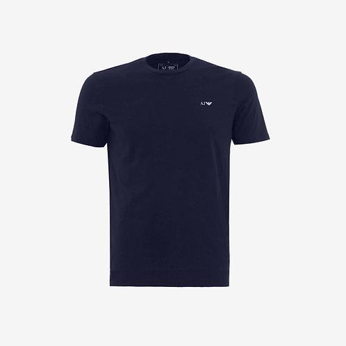 Armani Jeans T-shirt with Navy Logo White Designer Menswear