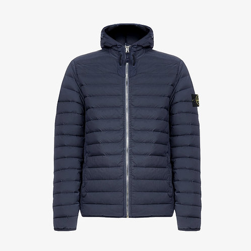 Stone Island Stretch Nylon Hooded Down Jacket - Navy