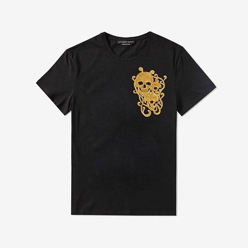 Alexander McQueen Golden Embroidered Skull T-Shirt Black Front