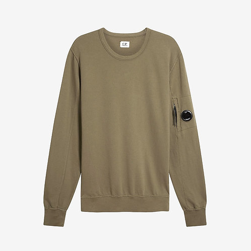 C.P. Company Garment Dyed Light Fleece Lens Sweatshirt Khaki Green