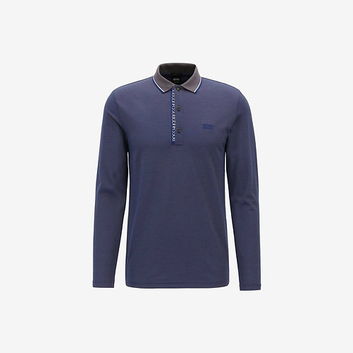 Boss Green Long Sleeve 2-Tone Polo - Pleesy 4 - Dark Blue/Grey