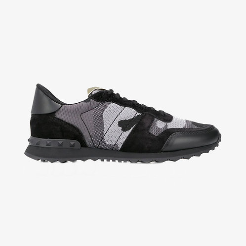 Valentino Mesh Fabric Camouflage Rockrunner Sneakers - Grey and Black