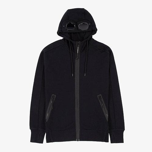 C.P. Company Diagonal Raised Fleece Goggle Hoodie - Black