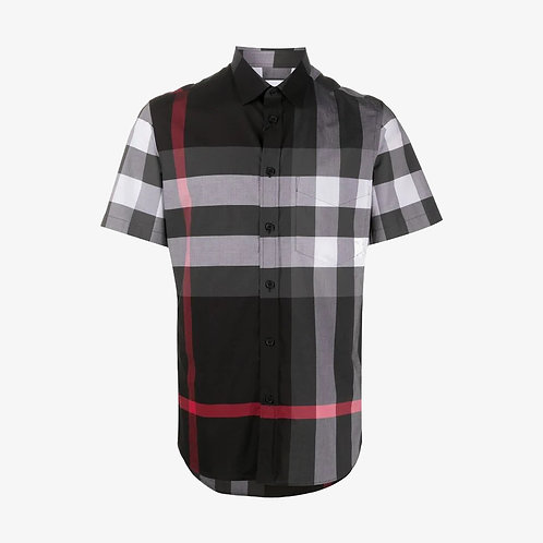 Burberry Short-Sleeve Check Stretch Poplin Shirt - Charcoal Grey
