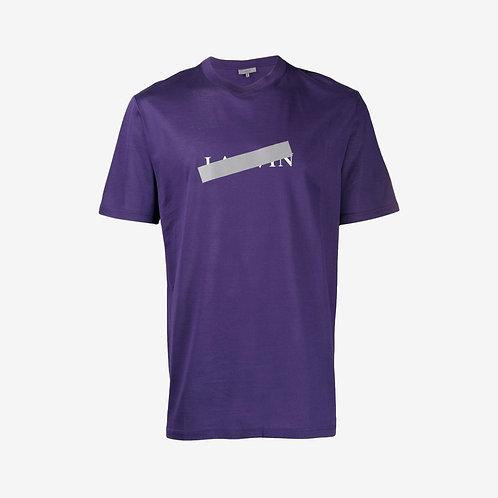 Lanvin Logo and Reflective Strip Print T-Shirt - Purple