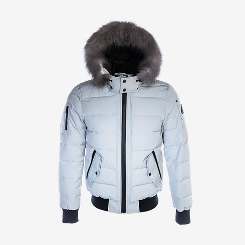 Moose Knuckles 'Scotchtown' Bomber - Grey Birch with Frost Fox Fur