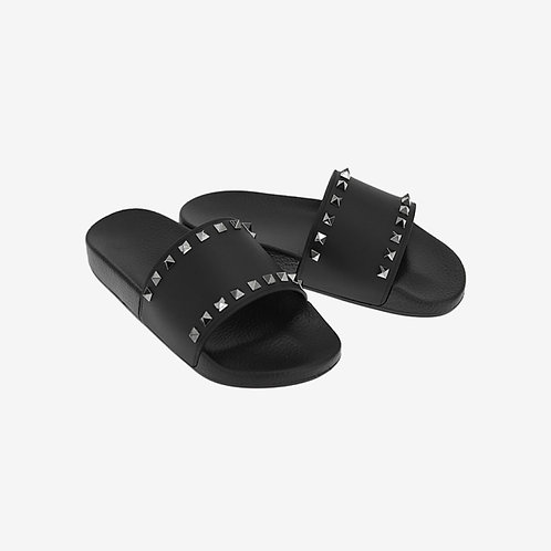 Valentino Studded Slides Black Comfort Spring Summer 18 Pair