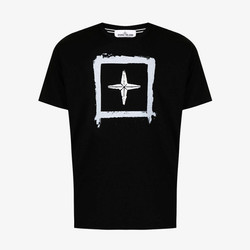 Stone Island Logo Print T-Shirt - Black