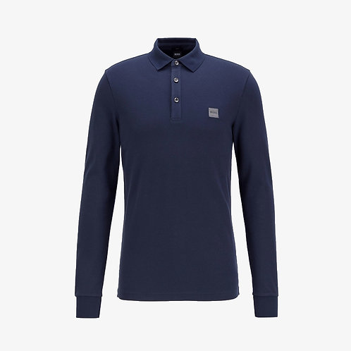 Boss 'Passerby' Slim-Fit Long Sleeve Polo - Navy