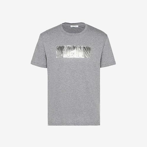 Valentino Laminated Embossed VLTN T-shirt - Grey