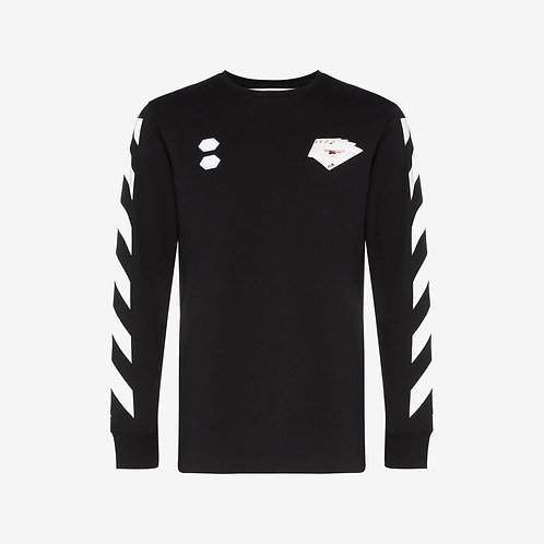 Off-White Card Print Striped Long Sleeve T-Shirt Black