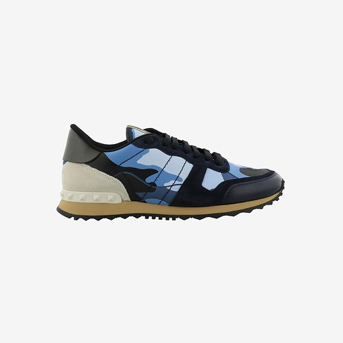 Valentino Camouflage Rockrunner Sneakers - Blue and Cream