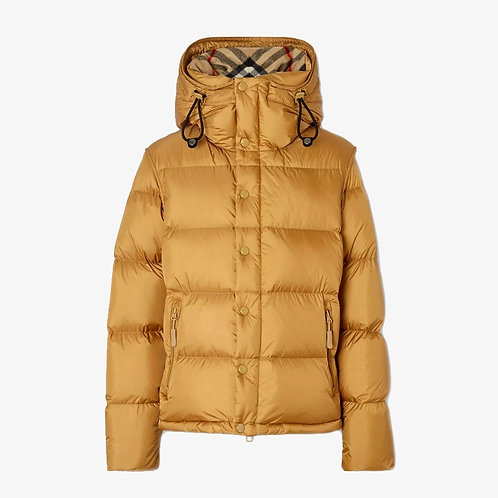 Burberry Detachable Sleeve Hooded Puffer Jacket - Warm Honey