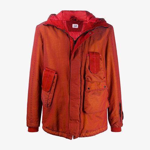 C.P. Company Drawstring Hood Cargo Parka Jacket - Pompeian Red