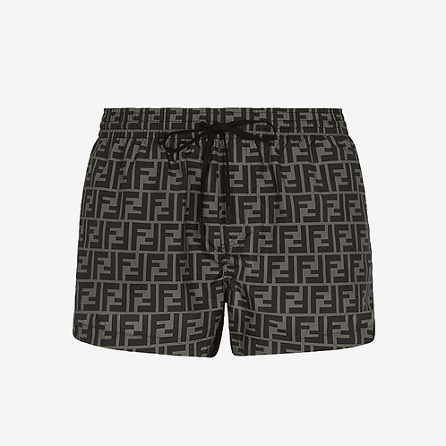 Fendi FF Signature Swim Shorts - Grey and Black