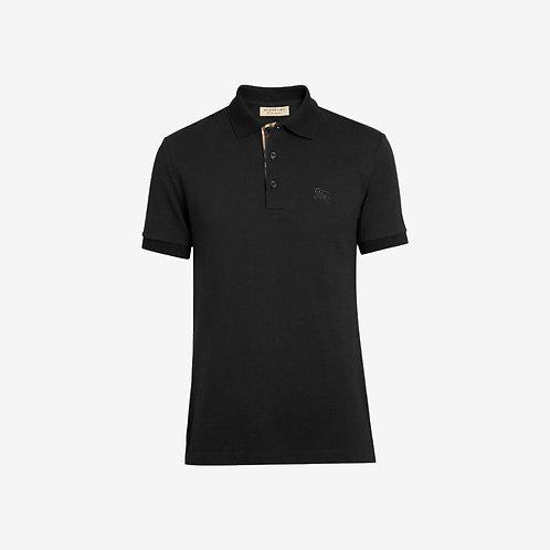 Burberry Check Placket Polo Shirt - Black