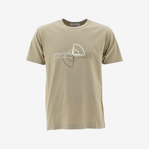 Stone Island Compass Logo Print T-Shirt - Beige