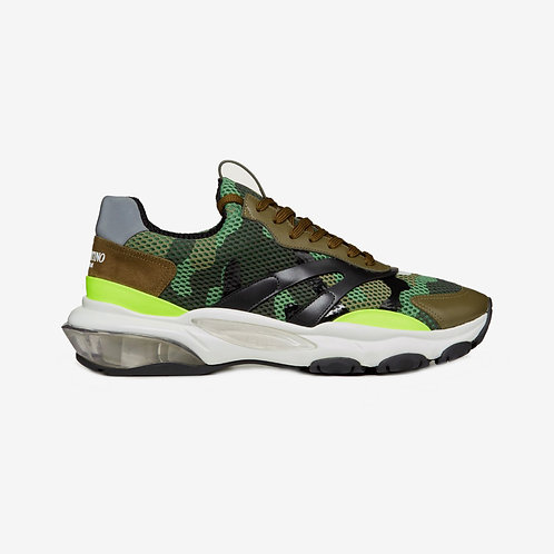 Valentino Camouflage Metallic Bounce Sneakers - Military Green