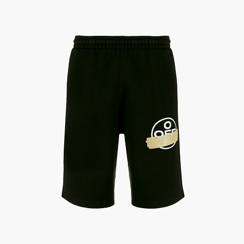 Off-White Sweat Shorts with Tape Black and Beige