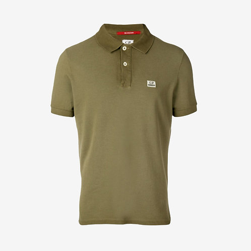 C.P. Company Re-Colour Piquet Polo Shirt with Embroidered Logo - Olive Green