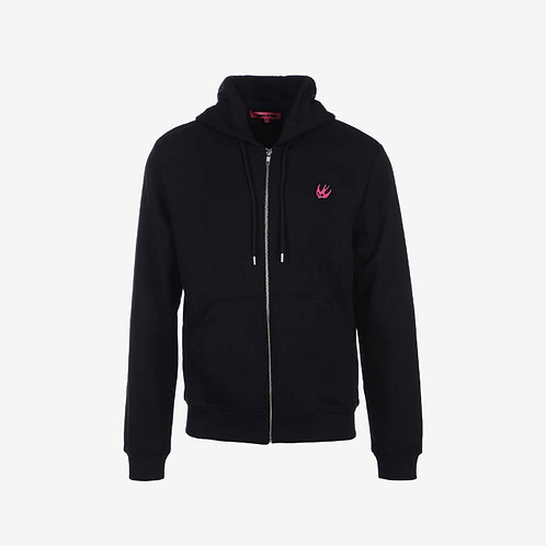 MCQ Swallow Classic Hoodie with Pink Logo- Black
