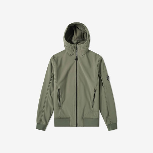 C.P. Company Soft Shell Arm Lens Zip Jacket - Olive/Green
