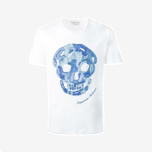 Alexander McQueen Embroidered Skull T-Shirt White Blue Front