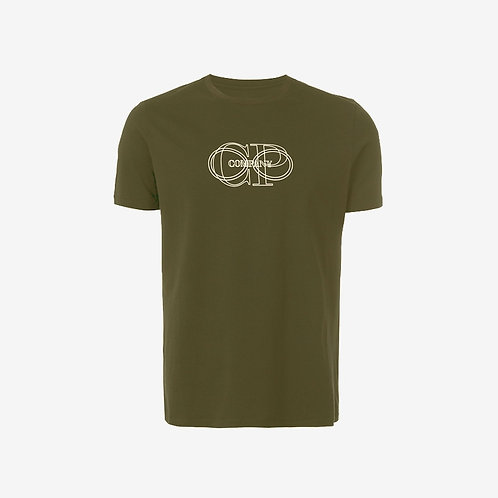 C.P. Company Circles Printed Logo T-shirt Olive Front
