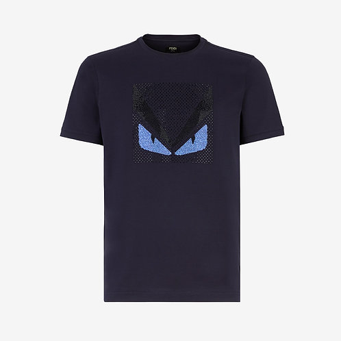 Fendi Crystal Embellished Monster T-shirt Navy