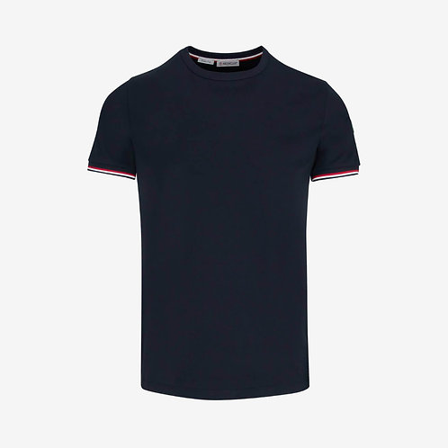 Moncler Slim Fit T-shirt with Contrast Sleeve - Navy