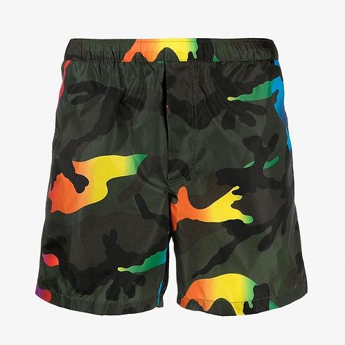 Valentino Camo Swim Shorts - Rainbow