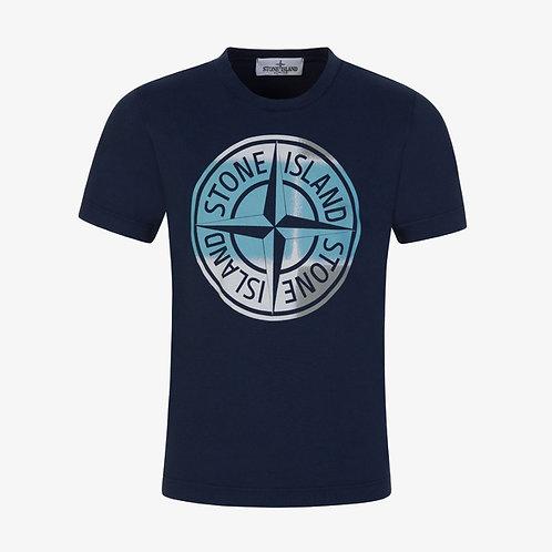 Stone Island Junior Print Logo T-Shirt - Navy