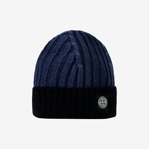 Stone Island Junior Contrast Beanie Hat - Ink Blue