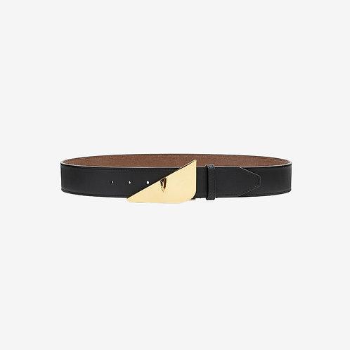 Fendi Bag Bugs Eye Buckle Belt Black Gold Front