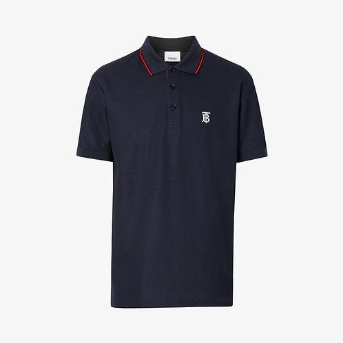 Burberry Icon Stripe Placket Polo Shirt - Navy